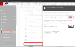 Disable User Owned Apps and Services O365 Settings