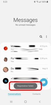 Registration Failed - RCS Chat Setup 4