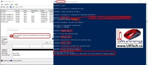 stop clean all diskpart command operation is not allows on a disk that is in the process of being cleaned