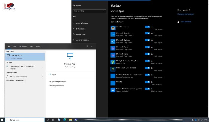 startup apps on Windows 10