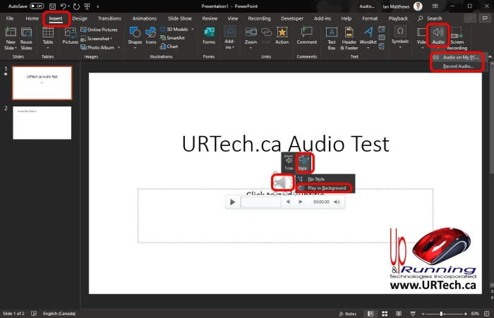 How To Set Audio To Play Through Multiple Slides in PowerPoint 365