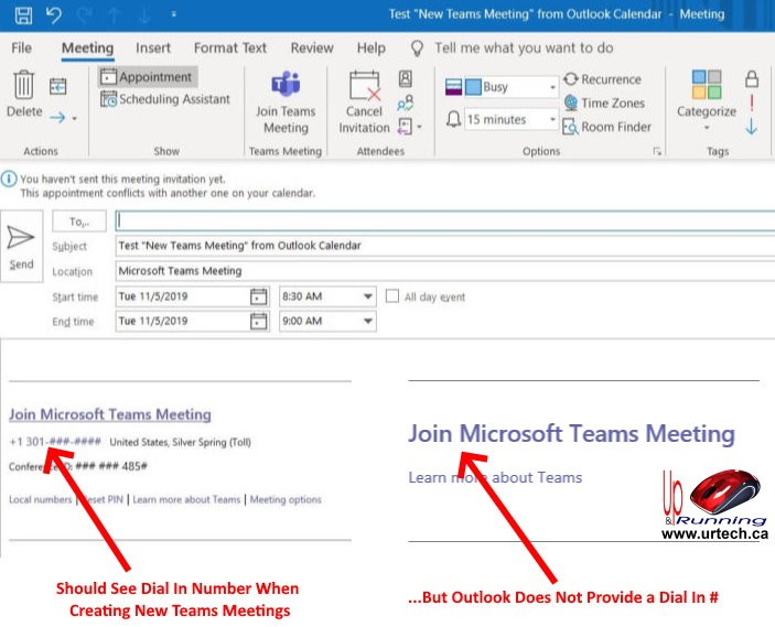 Teams with audio conferencing invite missing dial in number
