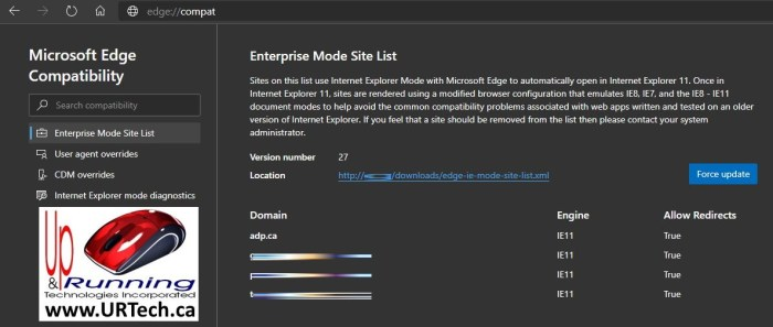 Microsoft Edge Browser compatibility mode update