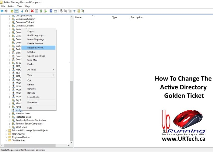 how to change the active directory golden ticket