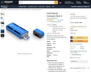 Intel Movidius Amazon 75 dollars