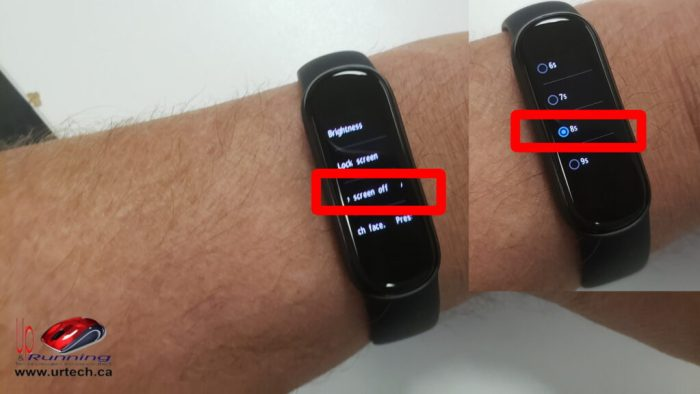 AmazFit Band 5 - Screen Time Out auto screen off
