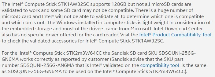 Intel Compute Stick SD Card Expansion