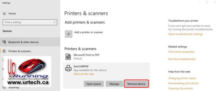 windows 10 - how to remove printer