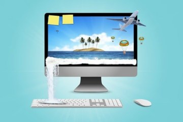 travel computer - sand water plane skticky notes