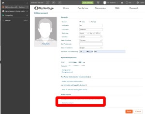 how to cancel a MyHeritage Subscription - delete data