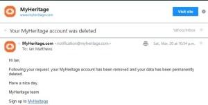 myheritage data deletion