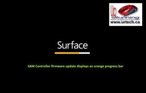 microsoft surface - amber orange bar under surface means SAM Controller firmware update displays an orange progress bar
