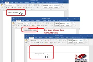 cannot see header or footer missing in ms word