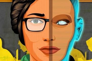 female teacher cyborg classroom