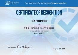 Intel Intro to IoT cert of recog