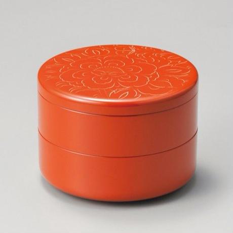 牡丹彫 丸重箱(洗朱)