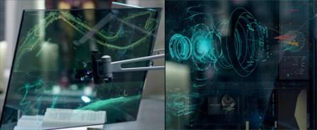 Ampliación de los monitores que mira Tony Stark. A la izquierda el trazado del GP de Mónaco y a la derecha la célula energética del pecho de Whiplash.