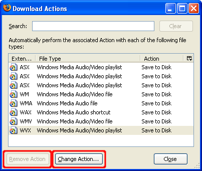 Screen shot of Mozilla Firefox Download Actions dialog with the disabled Remove Action button and enabled Change Action button highlighted