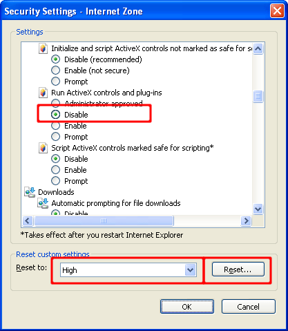 Screen shot of Internet Explorer Security Settings dialog with Run ActiveX controls and plug-ins disabled and Reset custom settings set to High