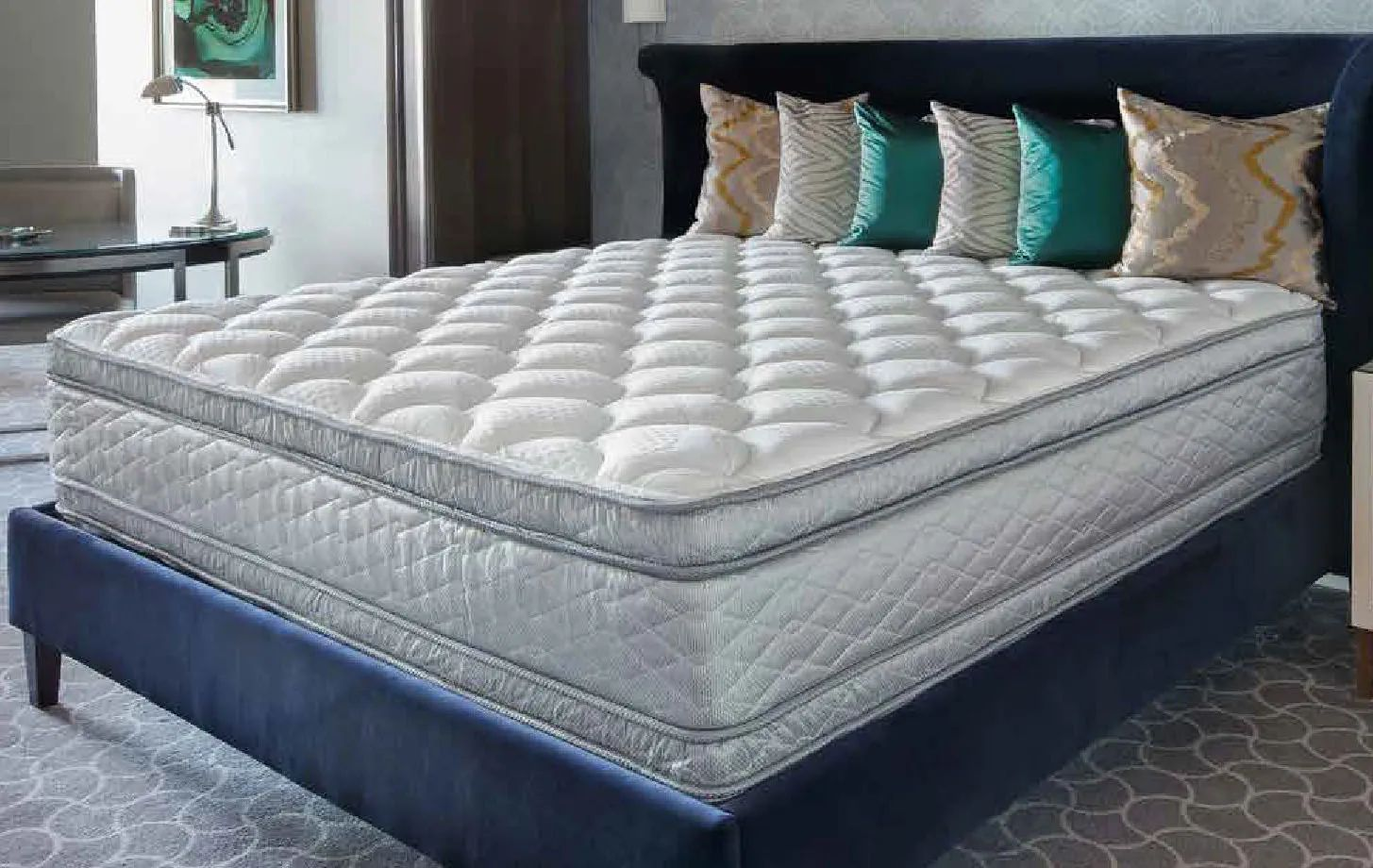 queen serta perfect sleeper hotel sapphire suite ii plush pillow top double sided 14 25 inch mattress