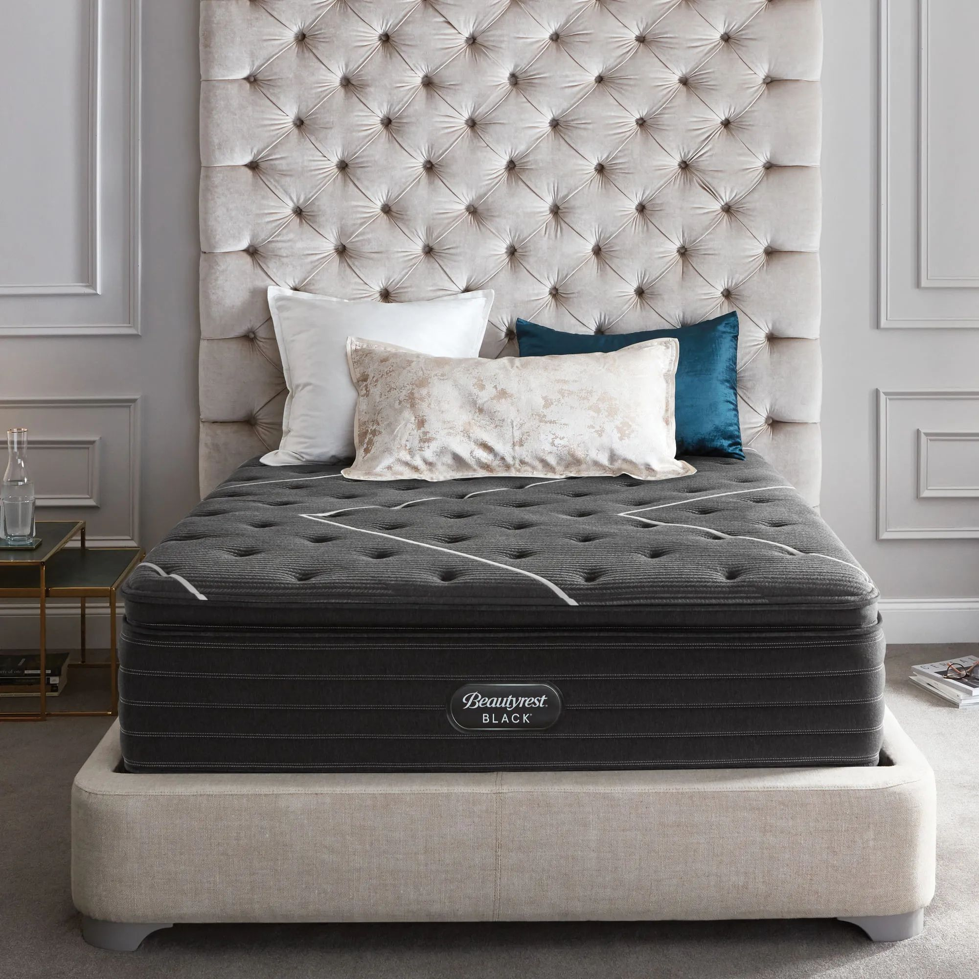 queen simmons beautyrest black natasha ii plush pillow top 16 inch mattress free 300 visa gift card