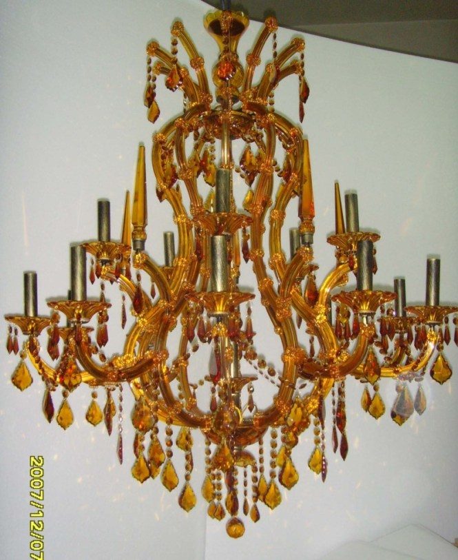 Example Of A Transpa Chandelier With Amber Glass Arms To Match The Crystal