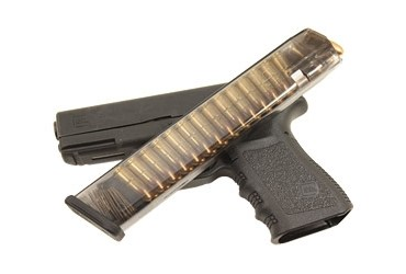 Glock, clear magazine with 31 rounds