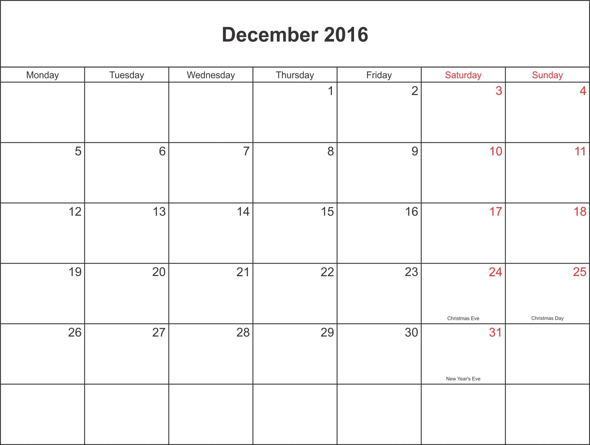 calendar december 2016 november 2016 printable template