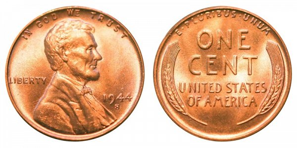 1944 S Lincoln Wheat Cent Bronze Composite Penny Value