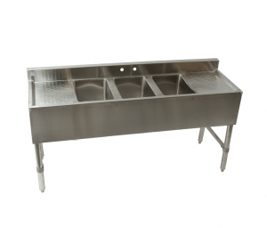 stainless steel 3 compartment bar sink with faucet