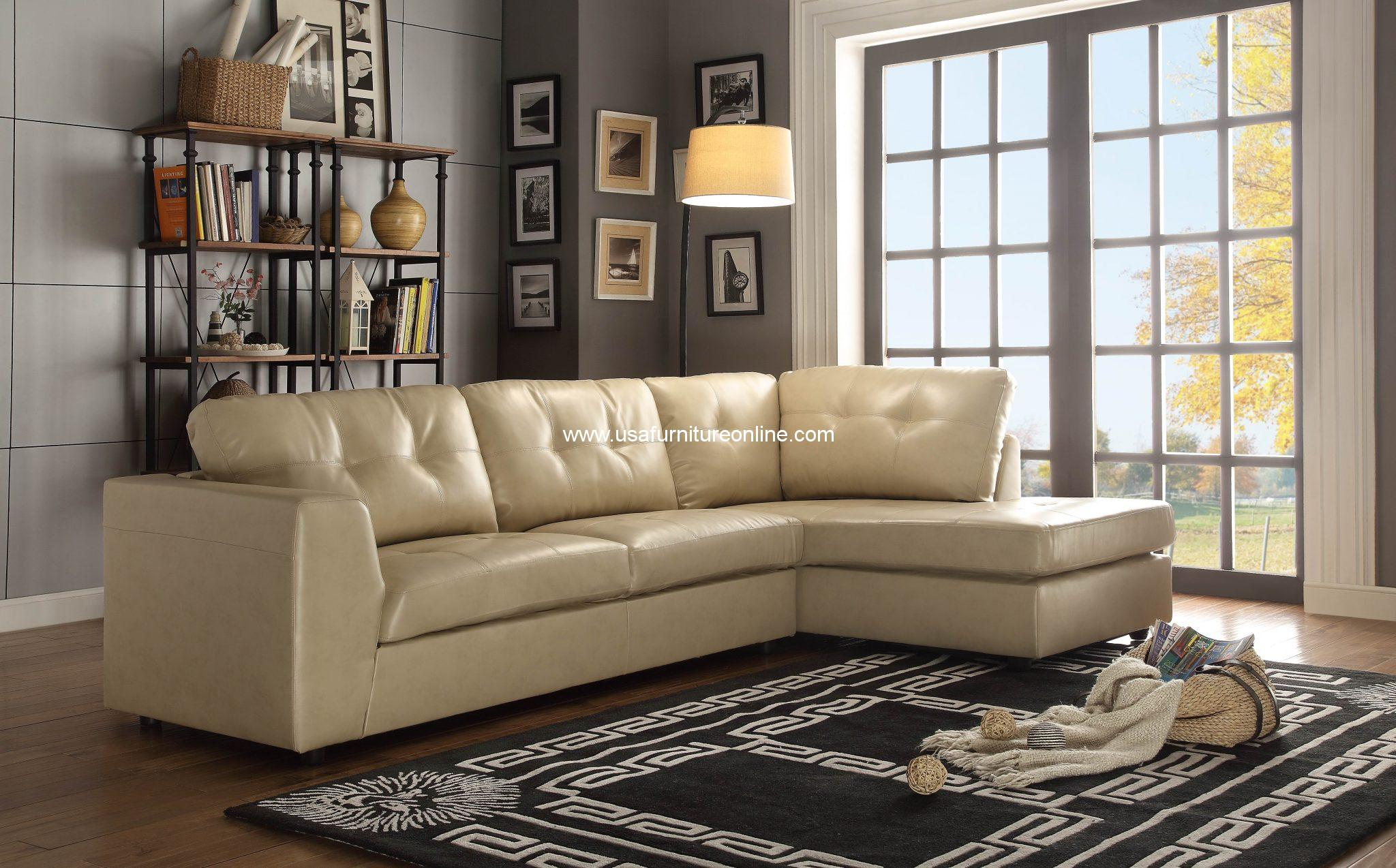 Springer Taupe Leather Sectional Sofa Set