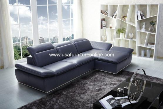 Bay Blue Premium Full Leather Sectional