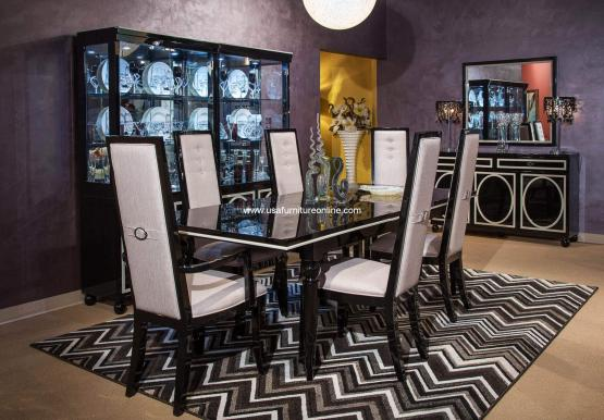 Sky Tower in Black Ice Modern Dining Set