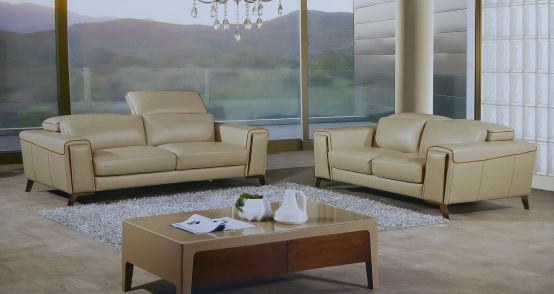 2 Piece Volo Italian Tan Leather Sofa Set