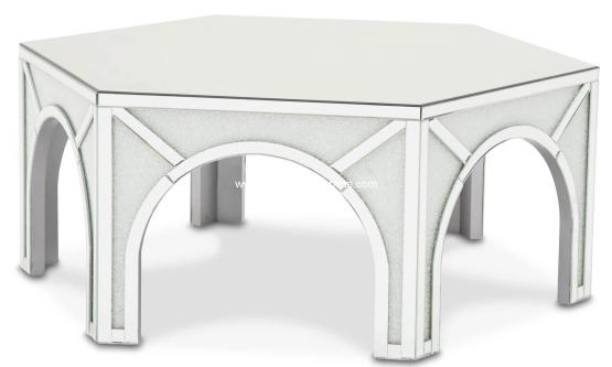 Hexagonal Mirrored Cocktail Table