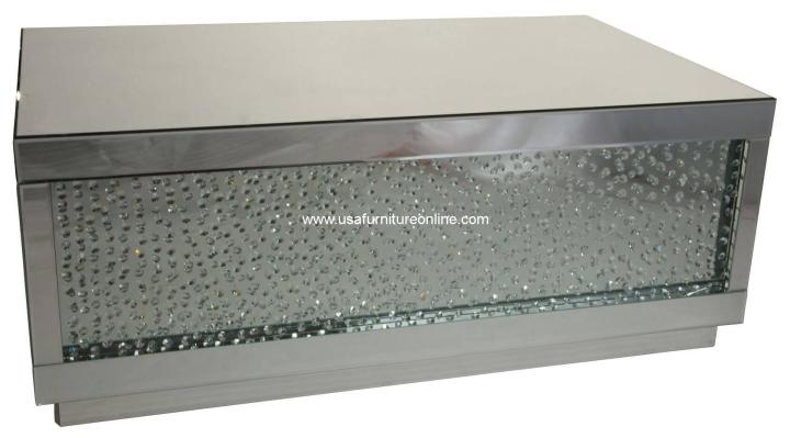 Silver Mirrored Cocktail Table With Crystals AICO