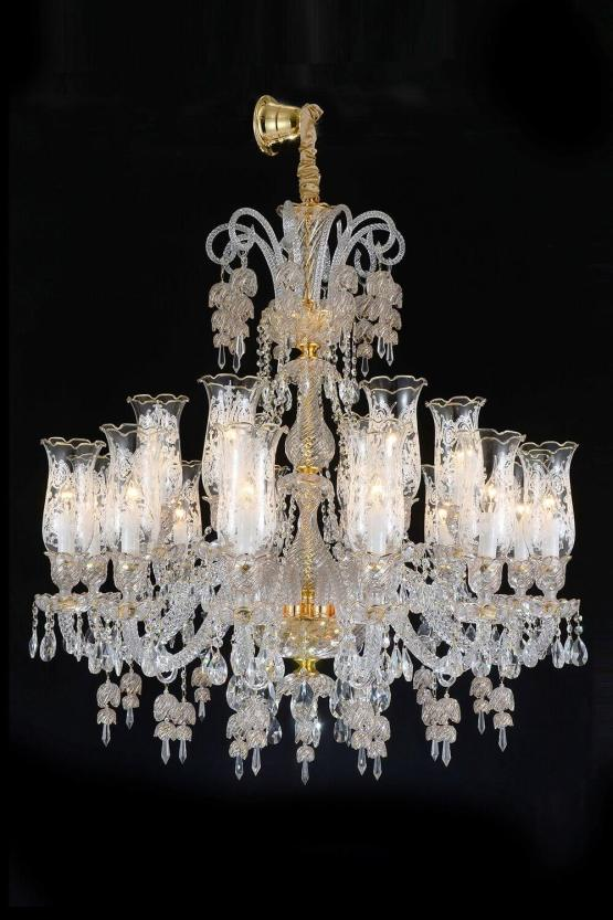 18 Light Garnier Chandelier Clear Glass-Gold Finish