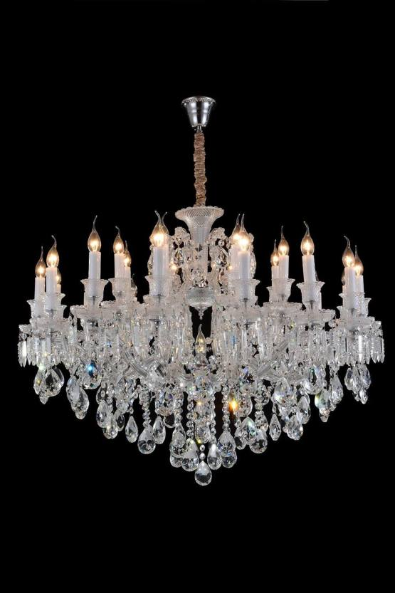 19 Light Chambord Chandelier Clear Glass-Silver Finish