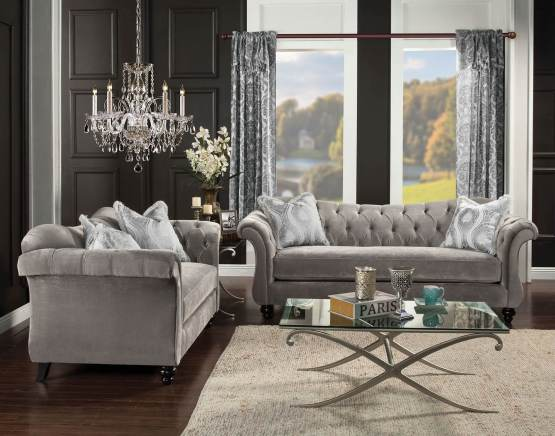 Antoinette Dolphin Gray Tufted Sofa Set Made In USA