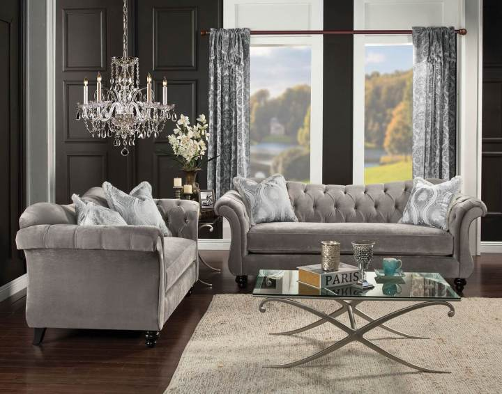 Prime 2 Piece Antoinette Dolphin Gray Tufted Sofa Set Made In Usa Lamtechconsult Wood Chair Design Ideas Lamtechconsultcom
