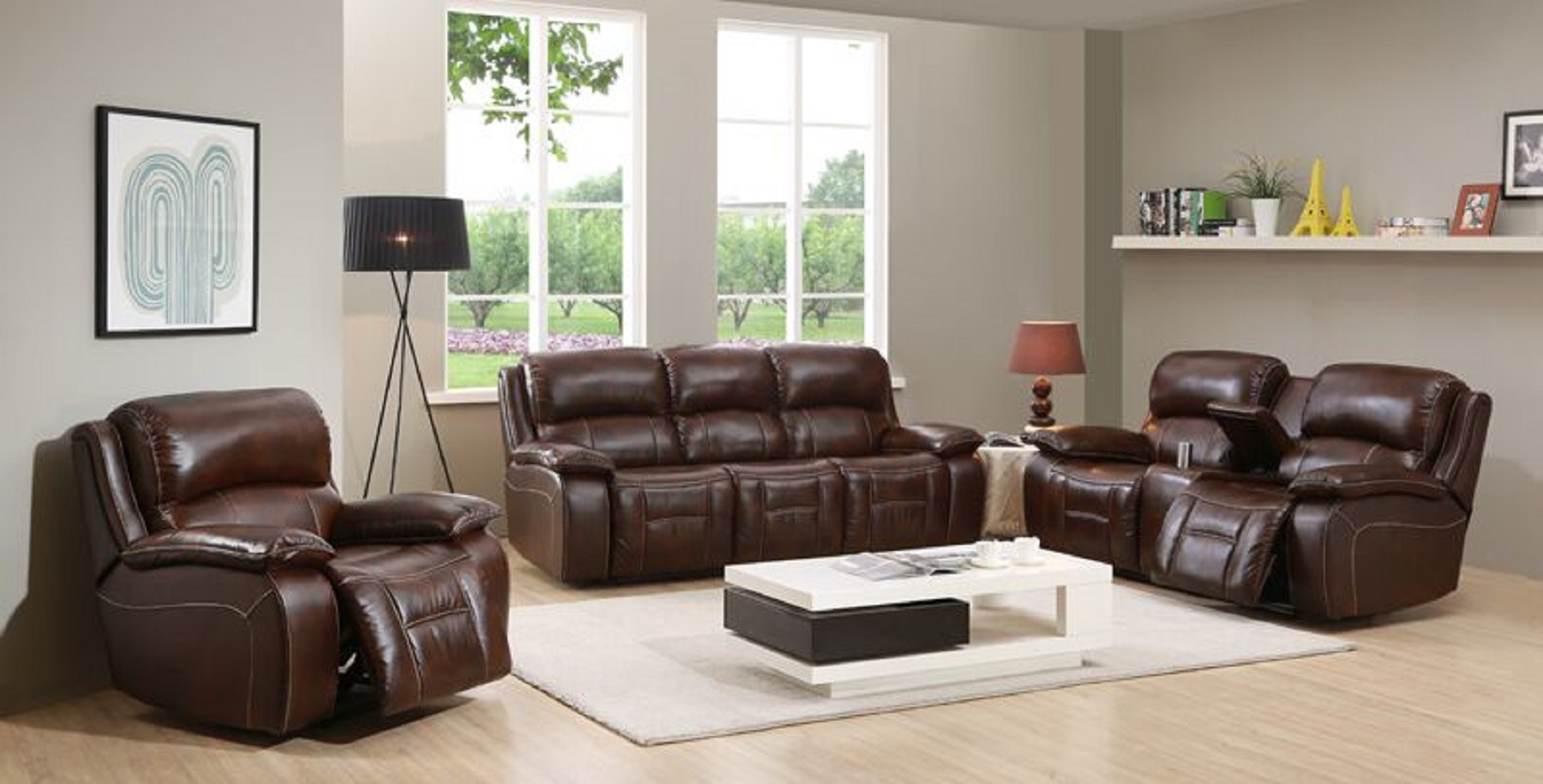 Westminster Brown Top Grain Leather Reclining Loveseat W-Console