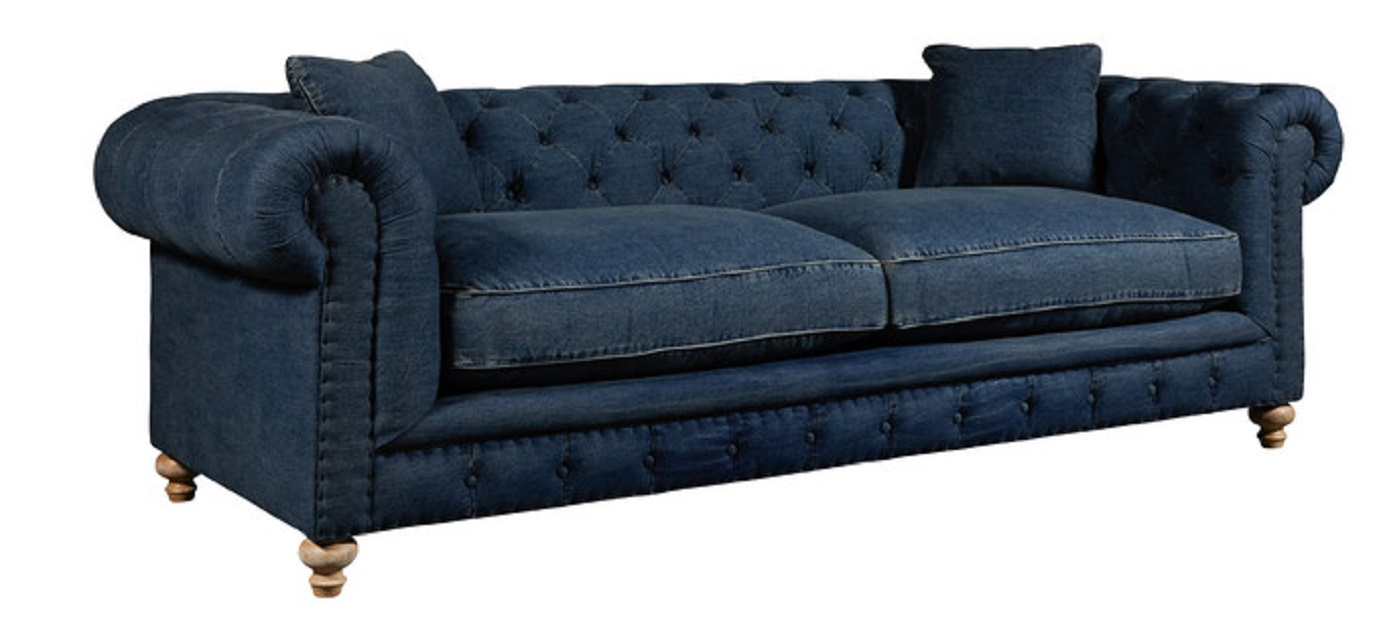 Greenwich Tufted Blue Denim Fabric Sofa By Spectra Home
