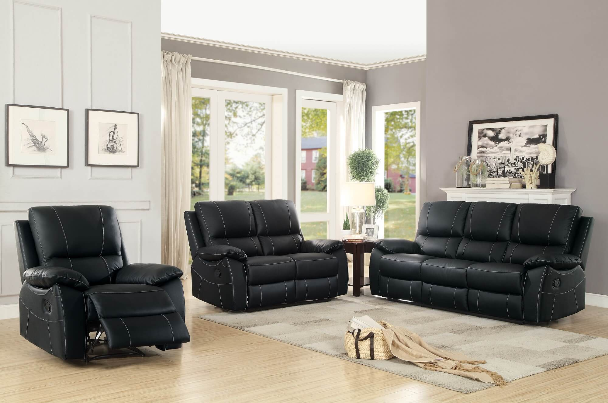 Greeley Top Grain Black Leather Reclining Loveseat By Homelegance