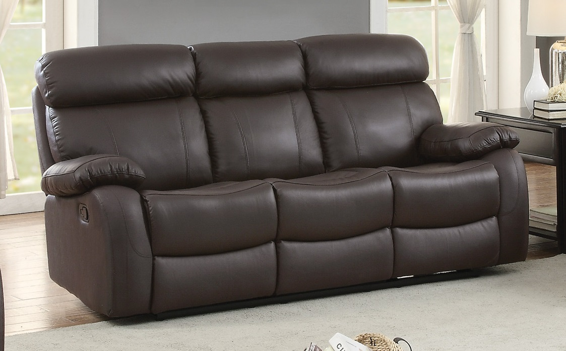Pendu Top Grain Brown Leather Double Reclining Sofa By Homelegance