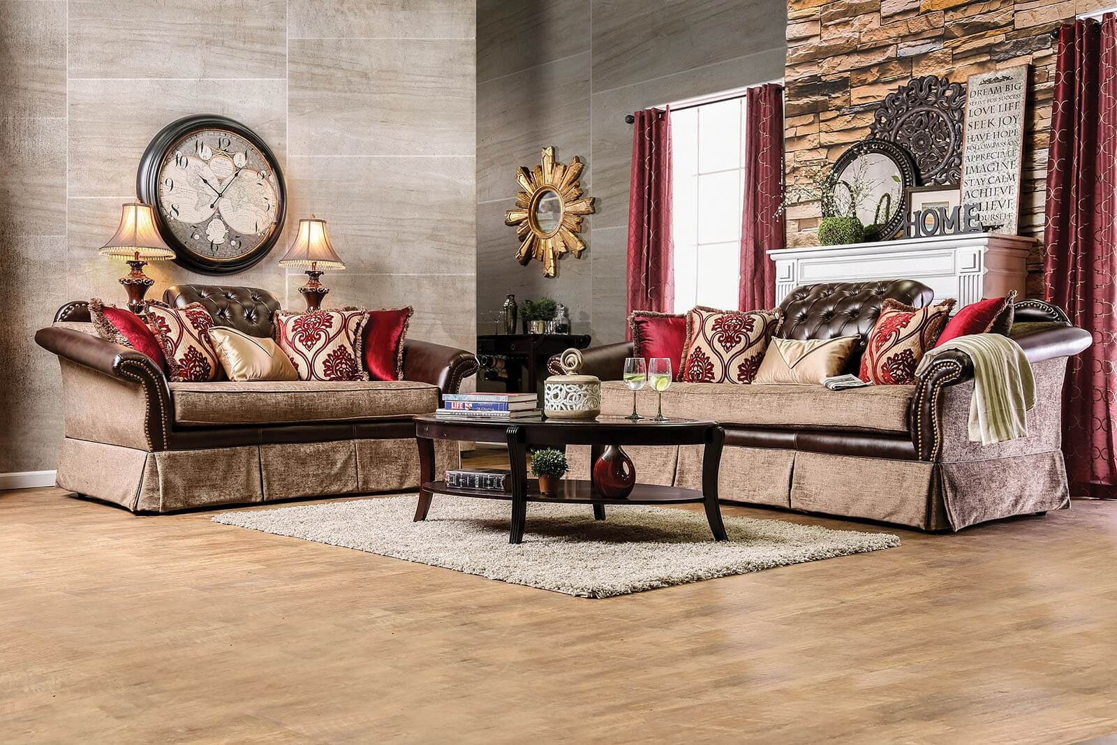 2 Piece Kinsale Traditional Leather-Fabric Sofa Set By Furniture Of America
