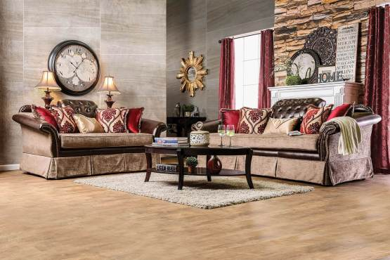 2 Piece Kinsale Traditional Leather-Fabric Sofa Set