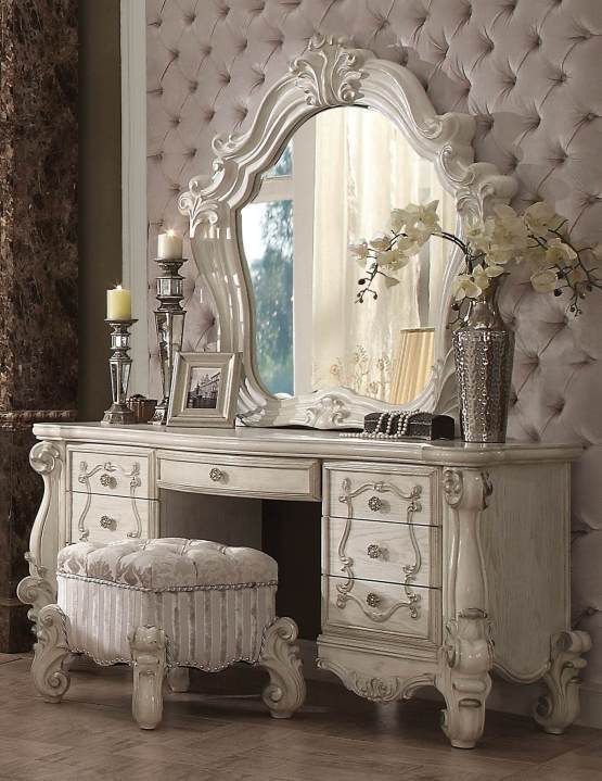 3 Piece Versailles Vanity - Mirror With Stool Bone White Finish
