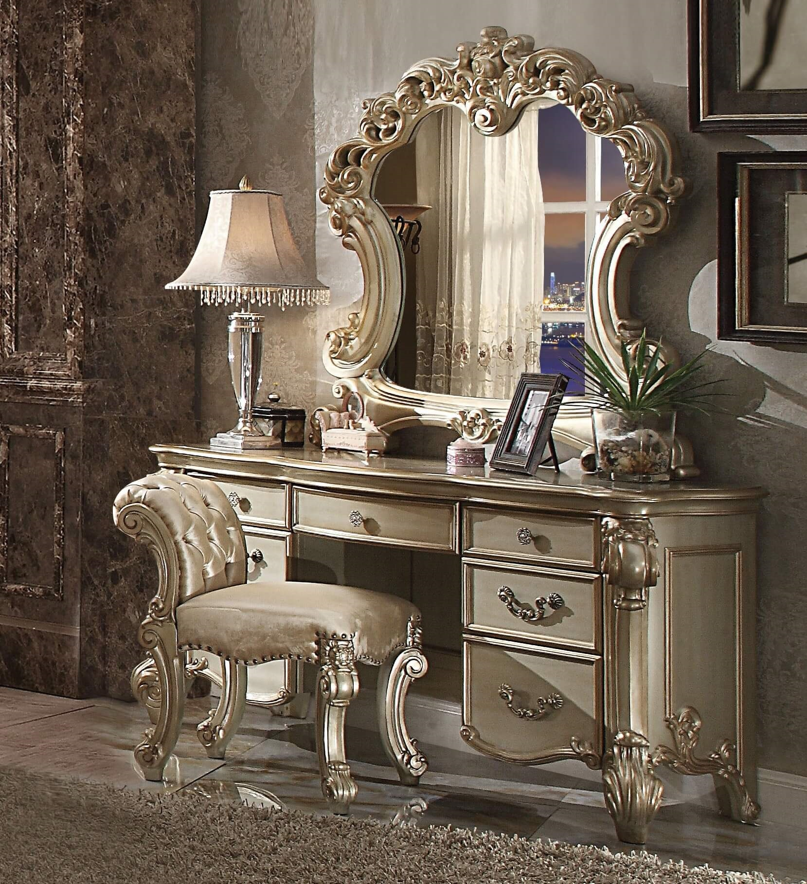 3 Piece Vendome Gold Patina Vanity Set With Stool By ACME-23007 ...