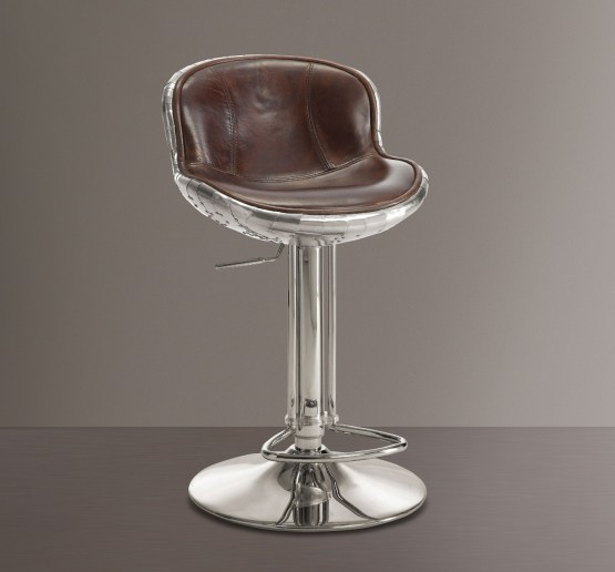 Brancaster Brown Leather Swivel Bar Stool