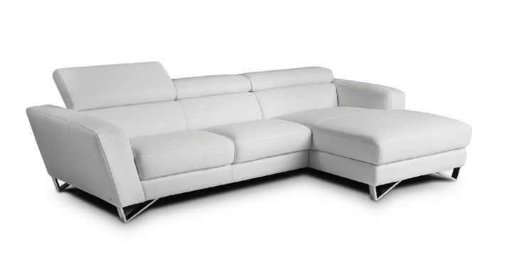 Sparta Italian White Leather Sectional Adjustable Headrest